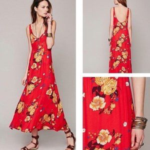 Intimately Free People Red Floral Maxi Dress Lg